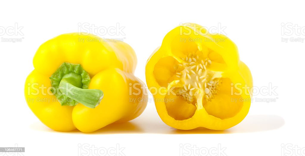 Yellow bell peppers isolated on white background stock photo