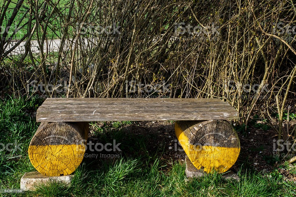 Yellow bench stock photo