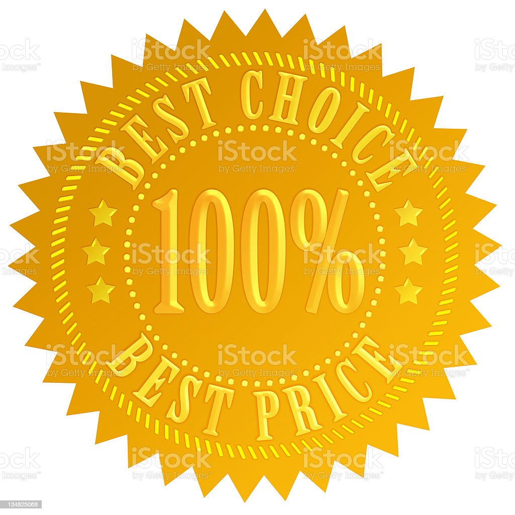 Yellow best choice and best price seal stock photo