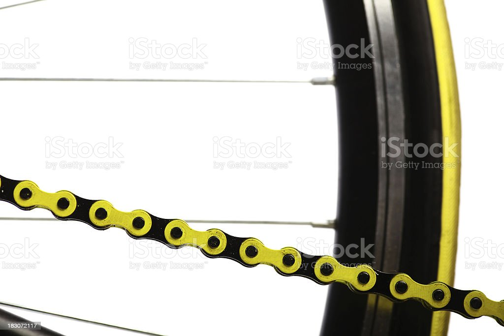 Yellow bicycle chain royalty-free stock photo