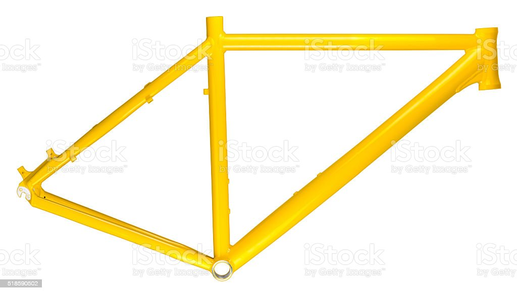 yellow bicycle frame stock photo