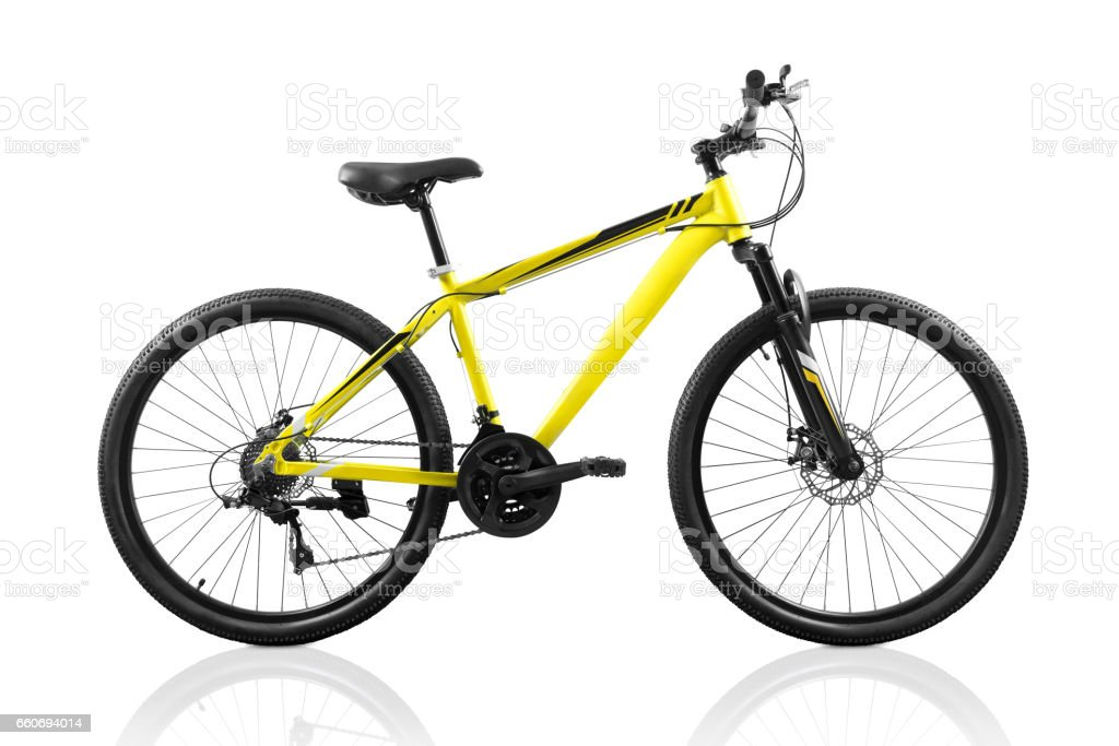 Yellow bicycle isolated on white stock photo