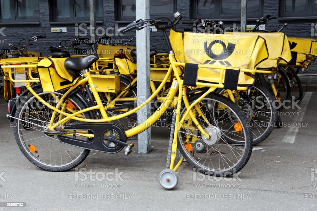 yellow bicycles stock photo