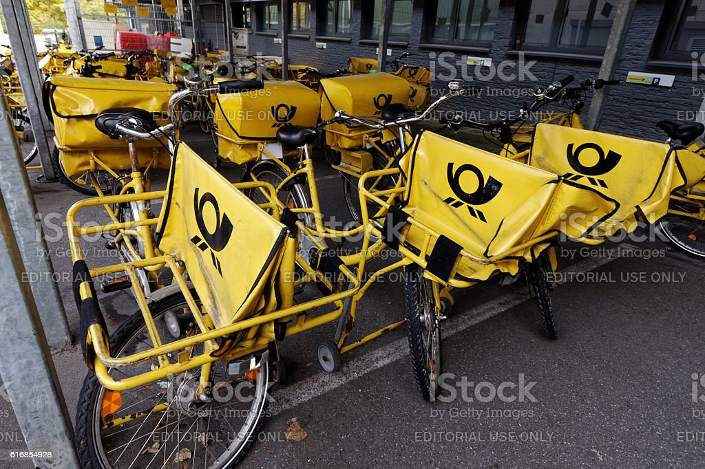 yellow bicycles stock photo