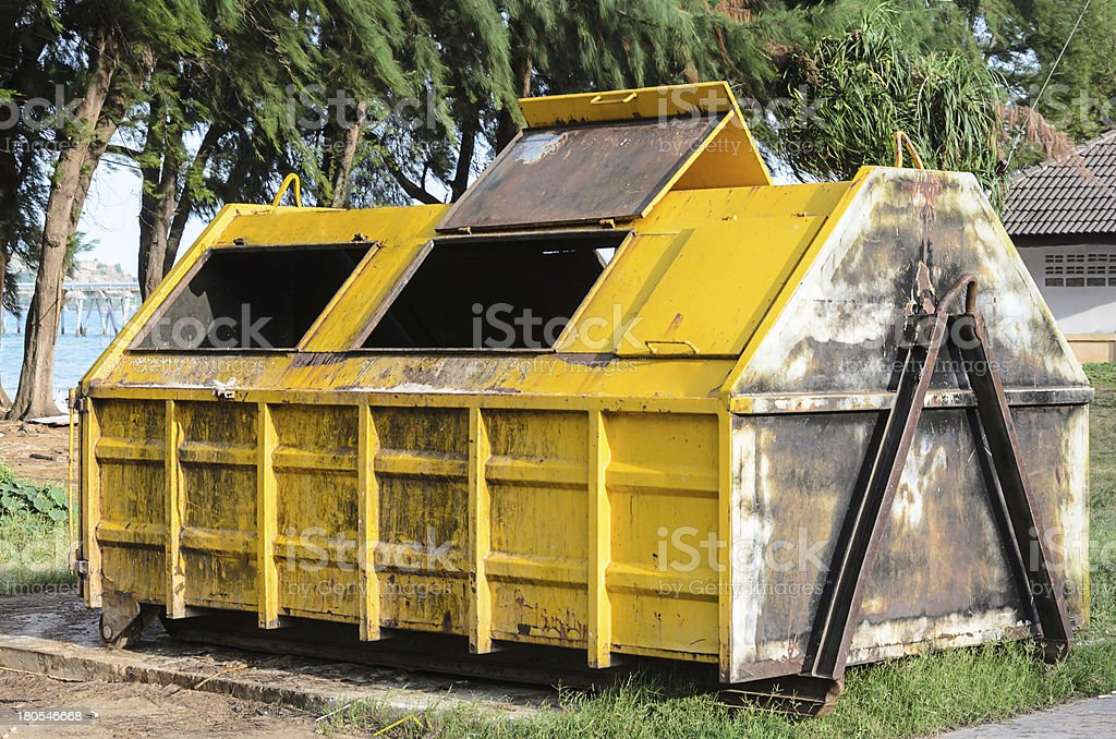 Yellow big garbage containers royalty-free stock photo