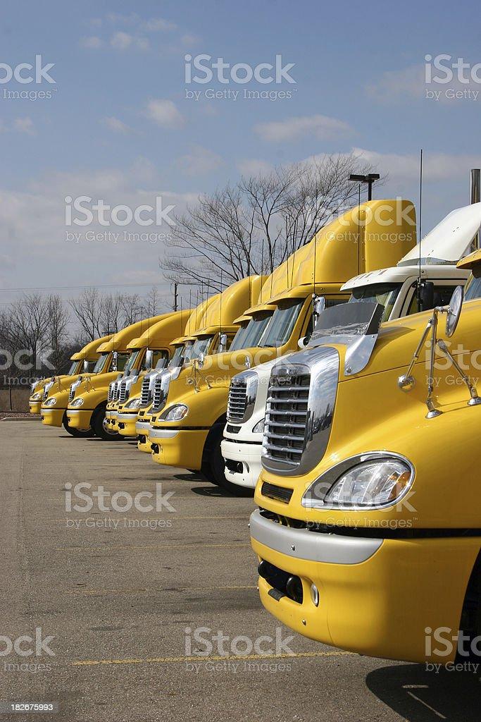 Yellow Big Rig LineUp Vertical royalty-free stock photo