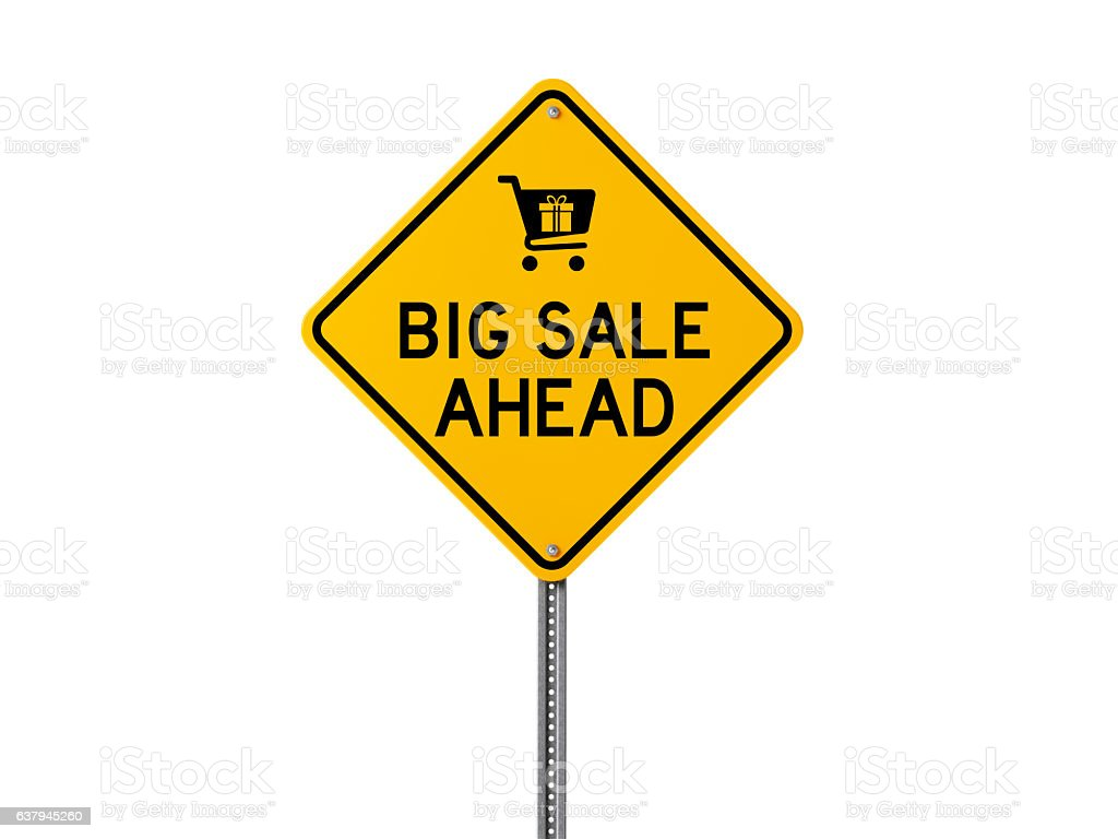 Yellow Big Sale Ahead Sign Isolated On White Background stock photo