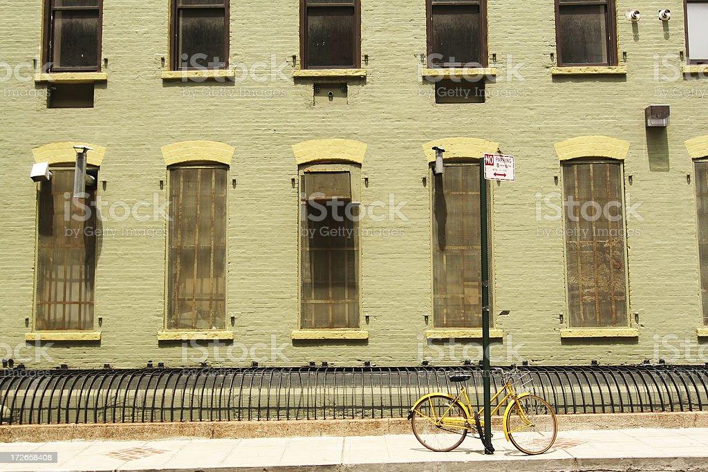 Yellow Bike In Dumbo Brooklyn royalty-free stock photo