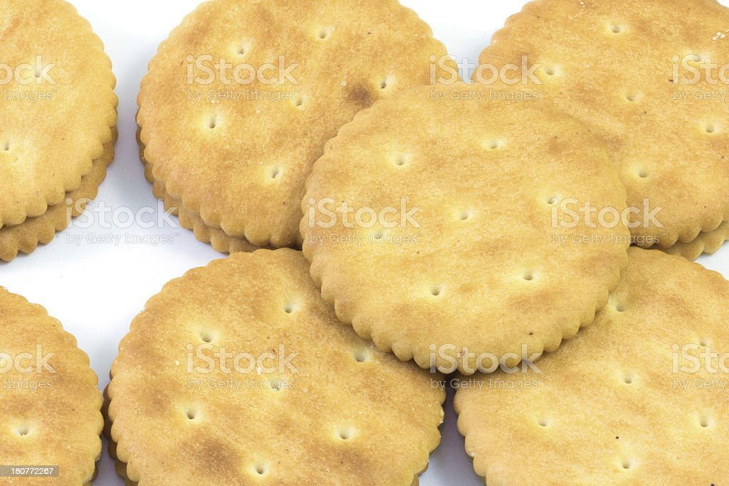 Yellow biscuits on white background royalty-free stock photo