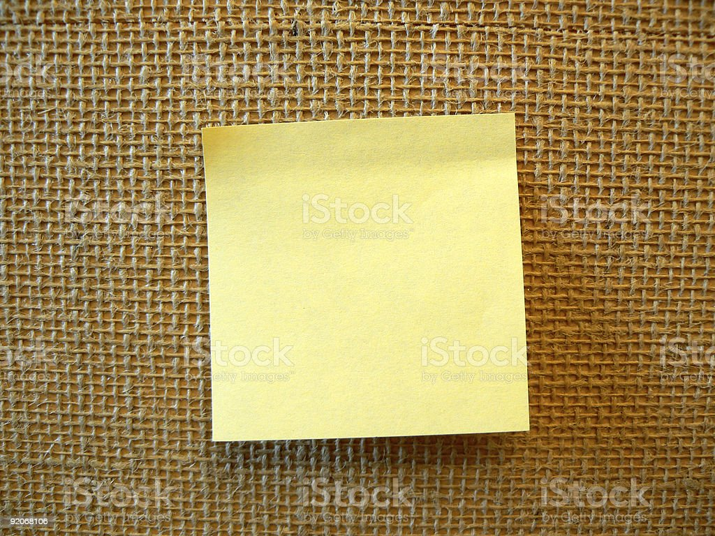 Yellow blank post-it note royalty-free stock photo