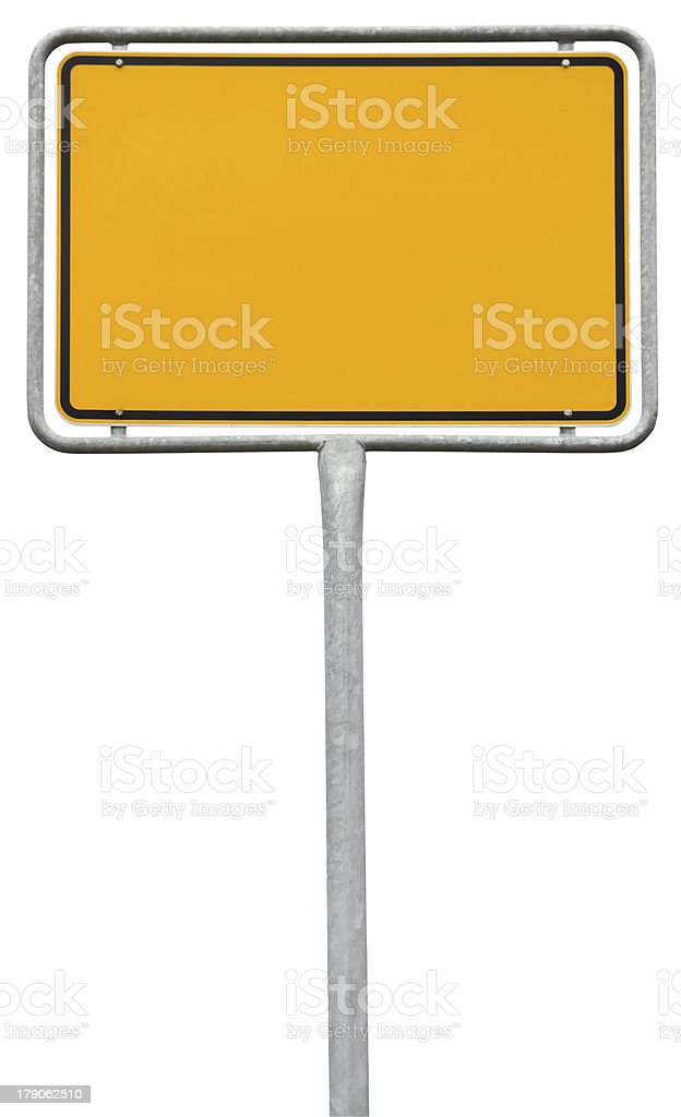 yellow blank sign (clipping path) isolated on white stock photo