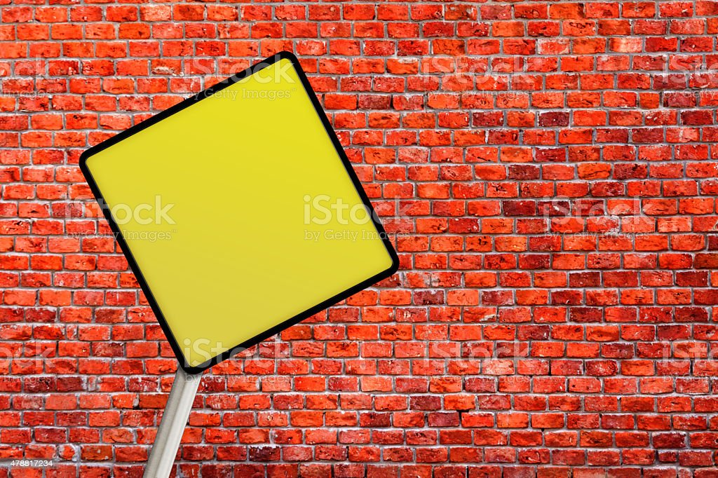 Yellow Blank Sign Post stock photo