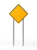 Yellow Blank Traffic Sign Isolated On White Background