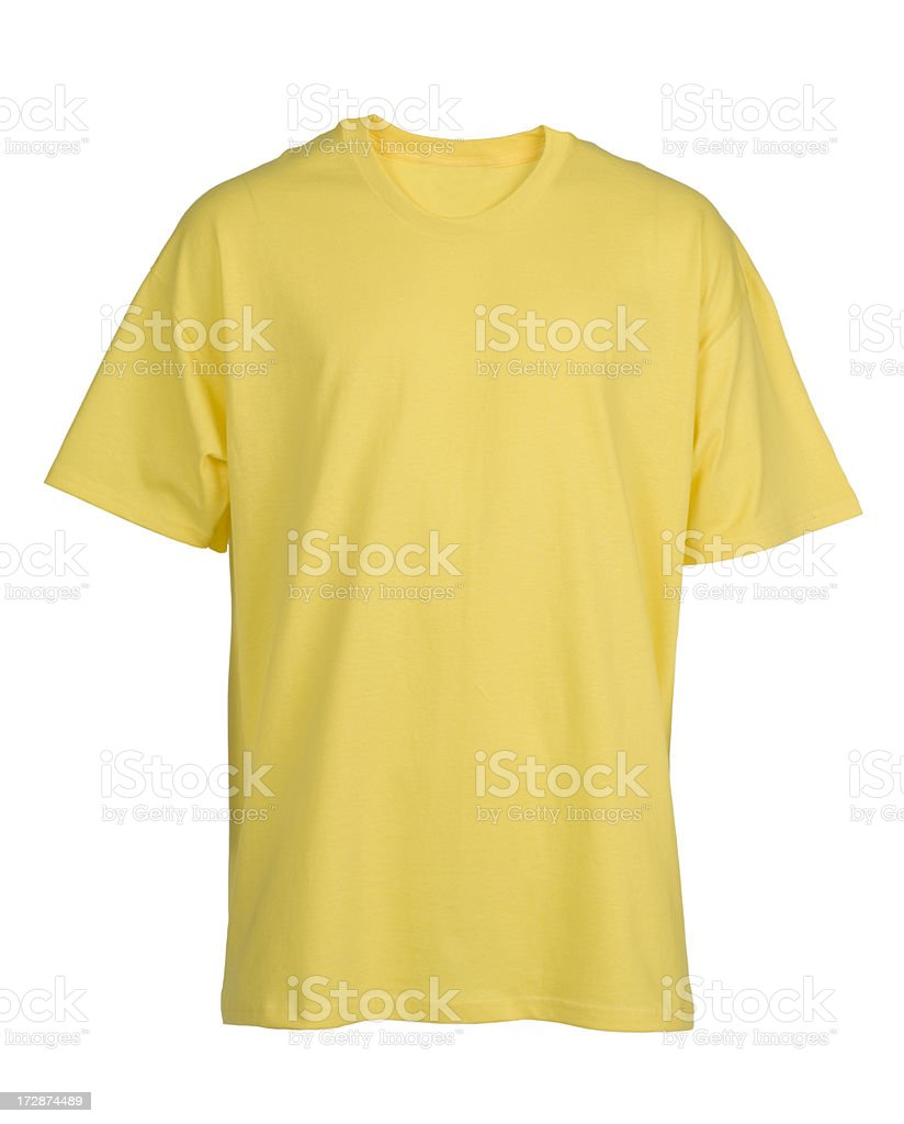 Yellow, blank, t-shirt front-isolated on white stock photo
