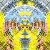 yellow blue and pink circle plaid pattern