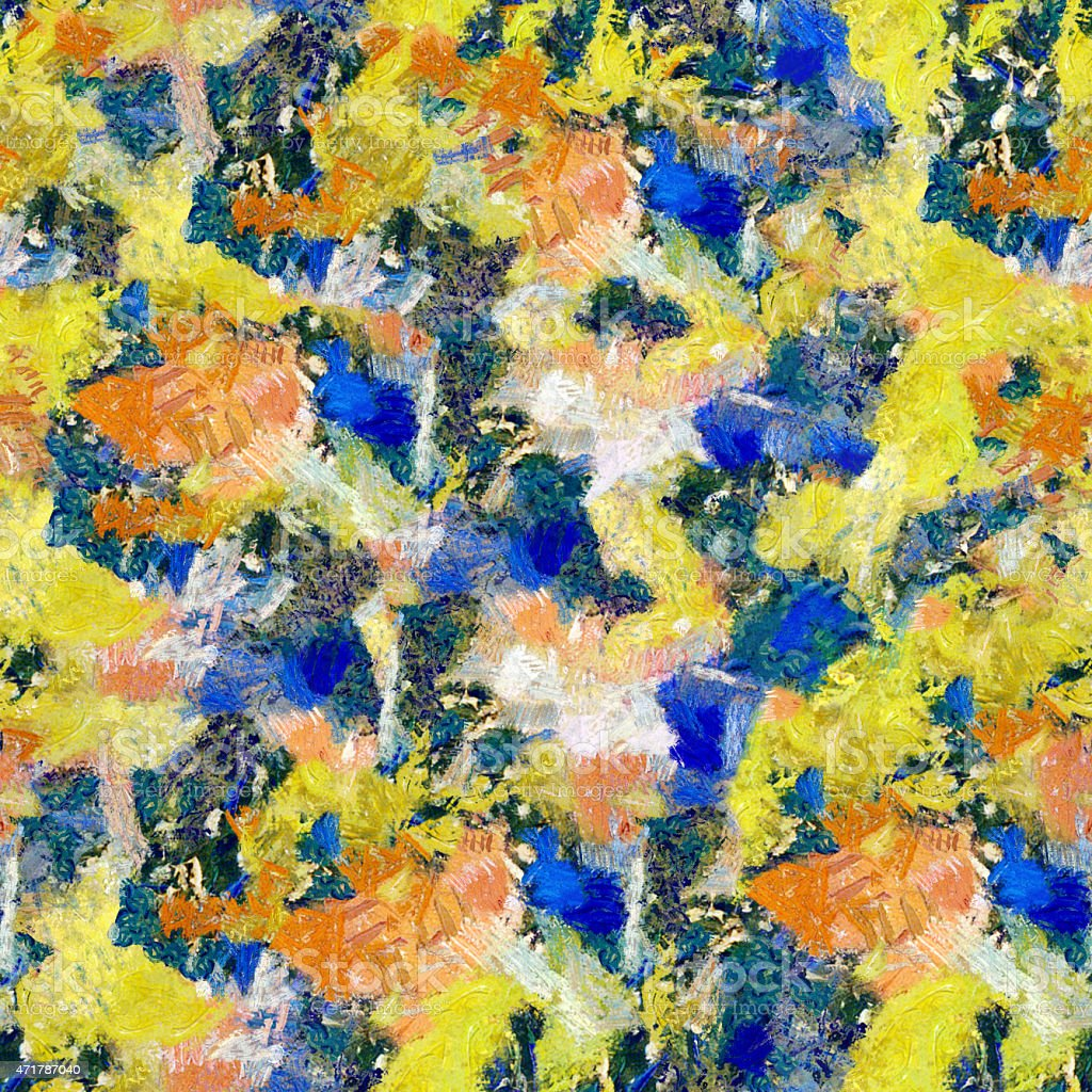 Yellow blue orange abstract seamless pattern oil strokes texture painting vector art illustration