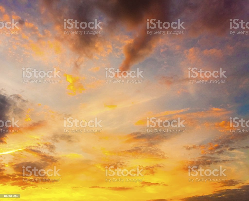 Yellow Blue Sunrise Sky With Sunlight royalty-free stock photo