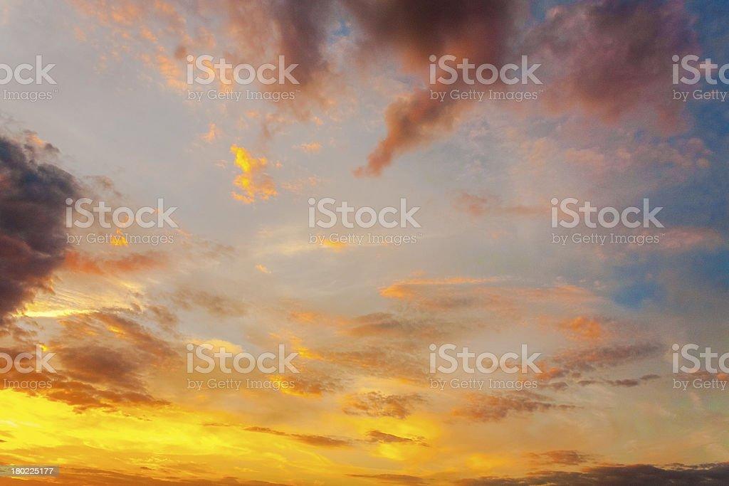 Yellow Blue Sunrise Sky With Sunlight royalty-free stock photo
