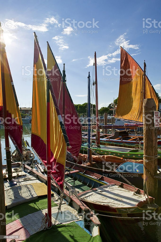 Yellow boats stock photo