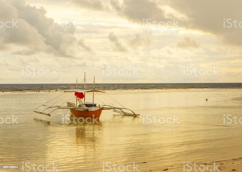 yellow boat,sipalay stock photo