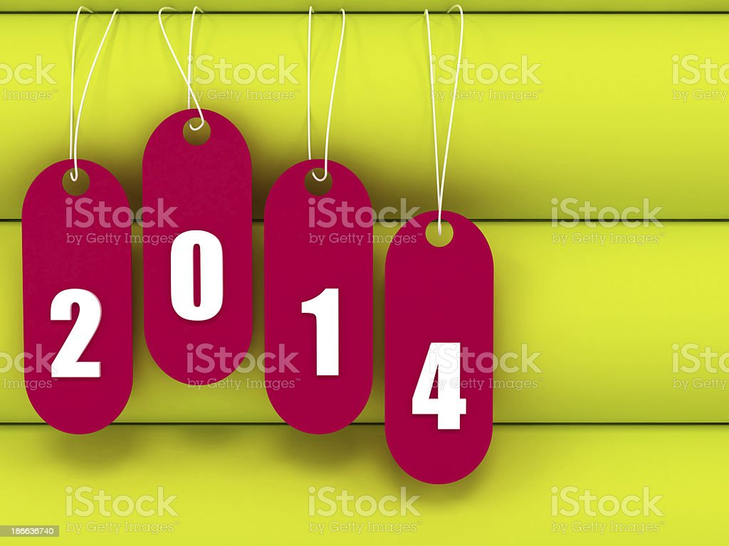 yellow book with tag hanging 2014 written text in 3d royalty-free stock photo