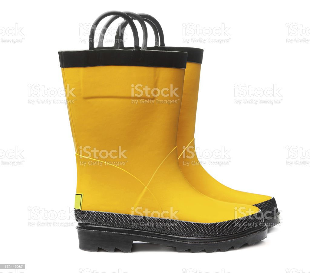 Yellow Boots on White royalty-free stock photo