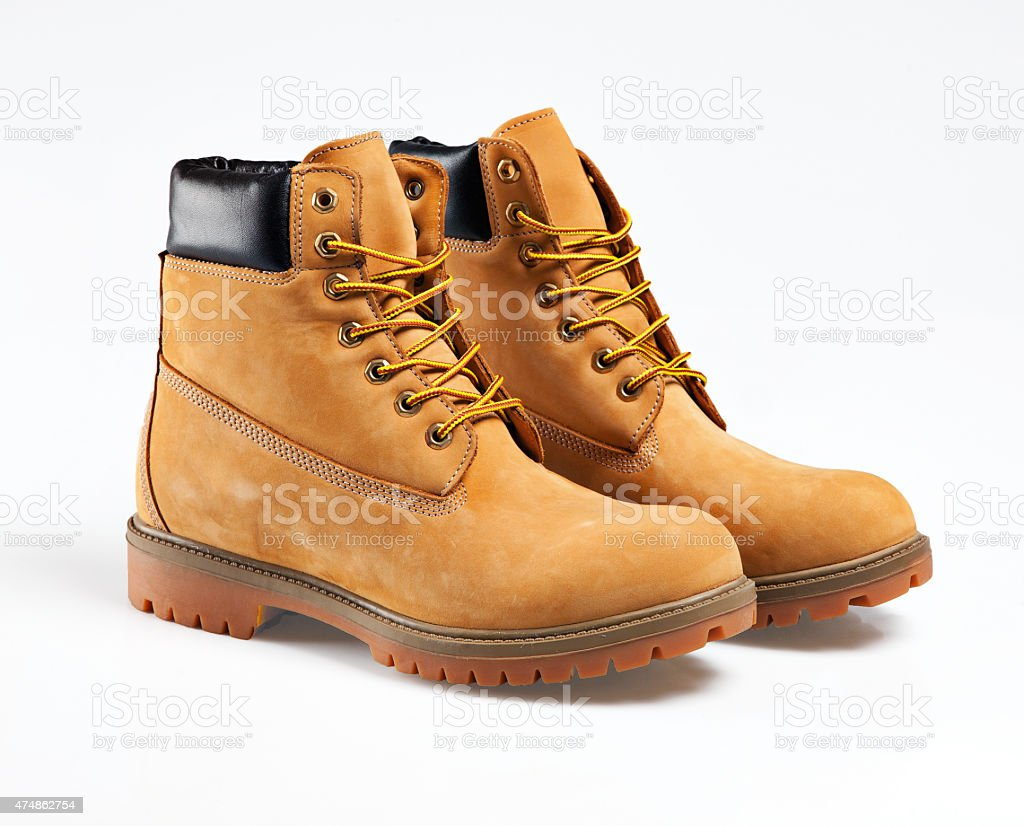 Yellow boots stock photo