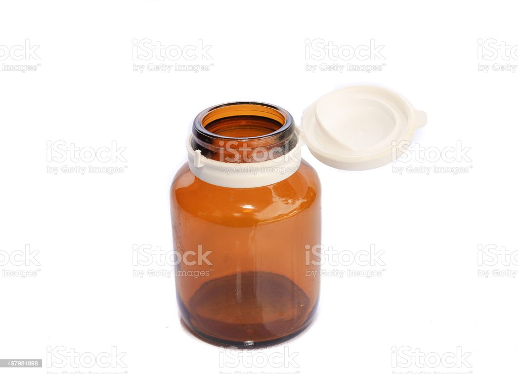 Yellow bottle of medicine stock photo