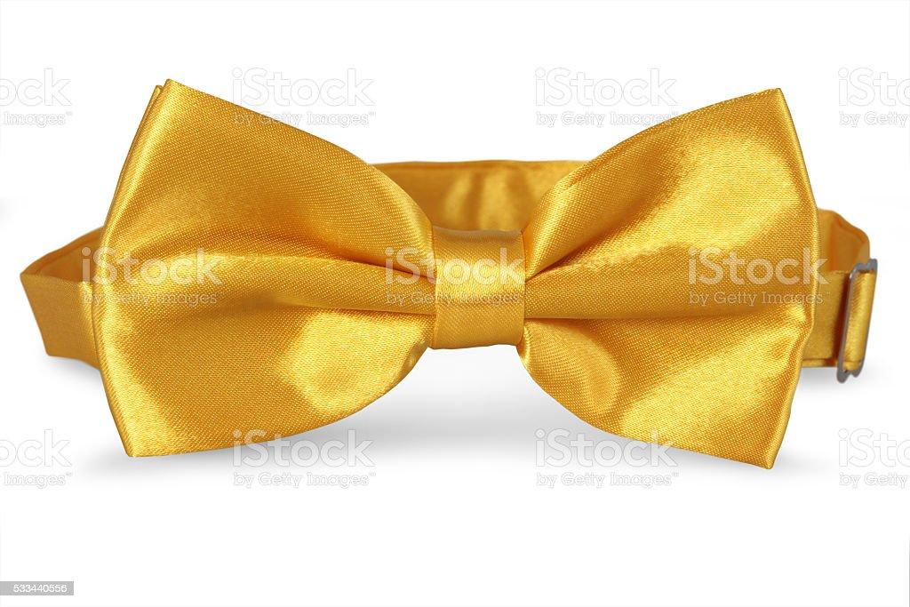 yellow bow Tie isolate od white background stock photo