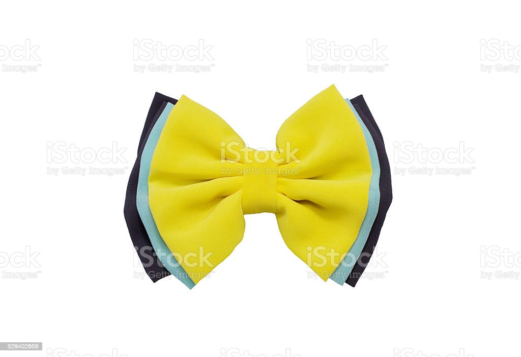 yellow bow,Hair clip stock photo