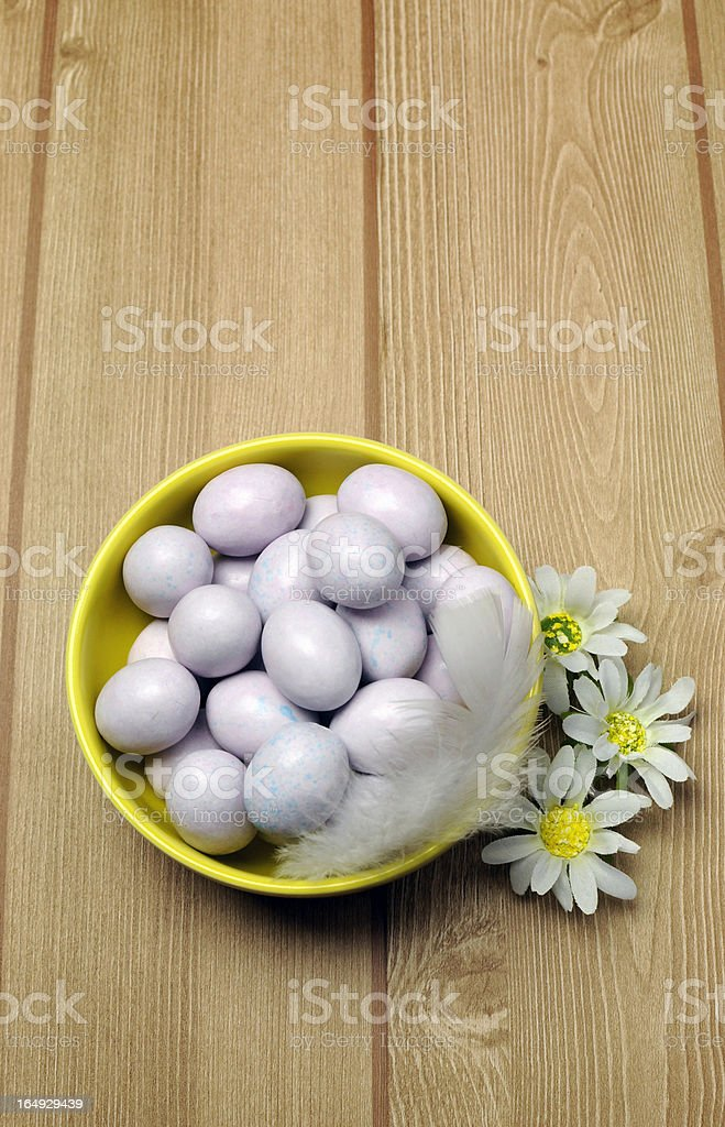 Yellow bowl of sugar coated Easter eggs with copy space. stock photo