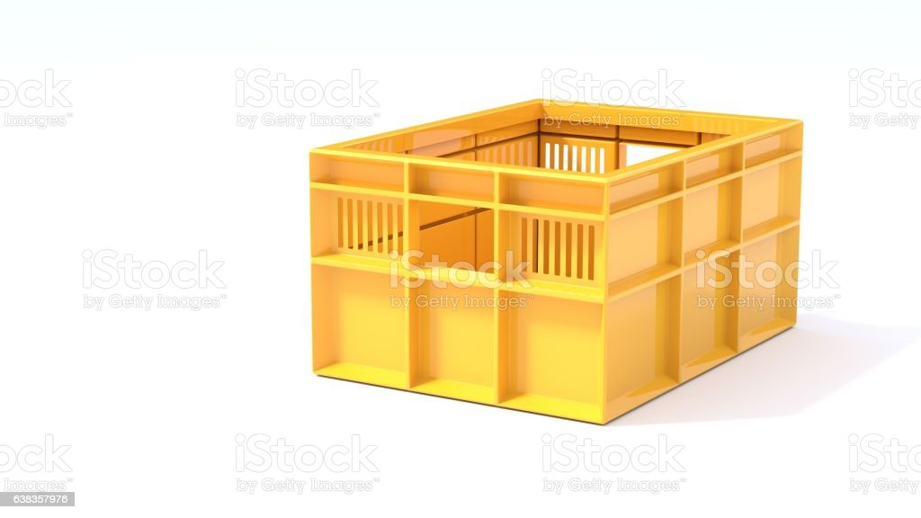 yellow box used in transport 3d illustration stock photo