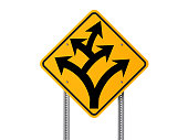 Yellow Branching Off or Division Ahead Traffic Sign on White