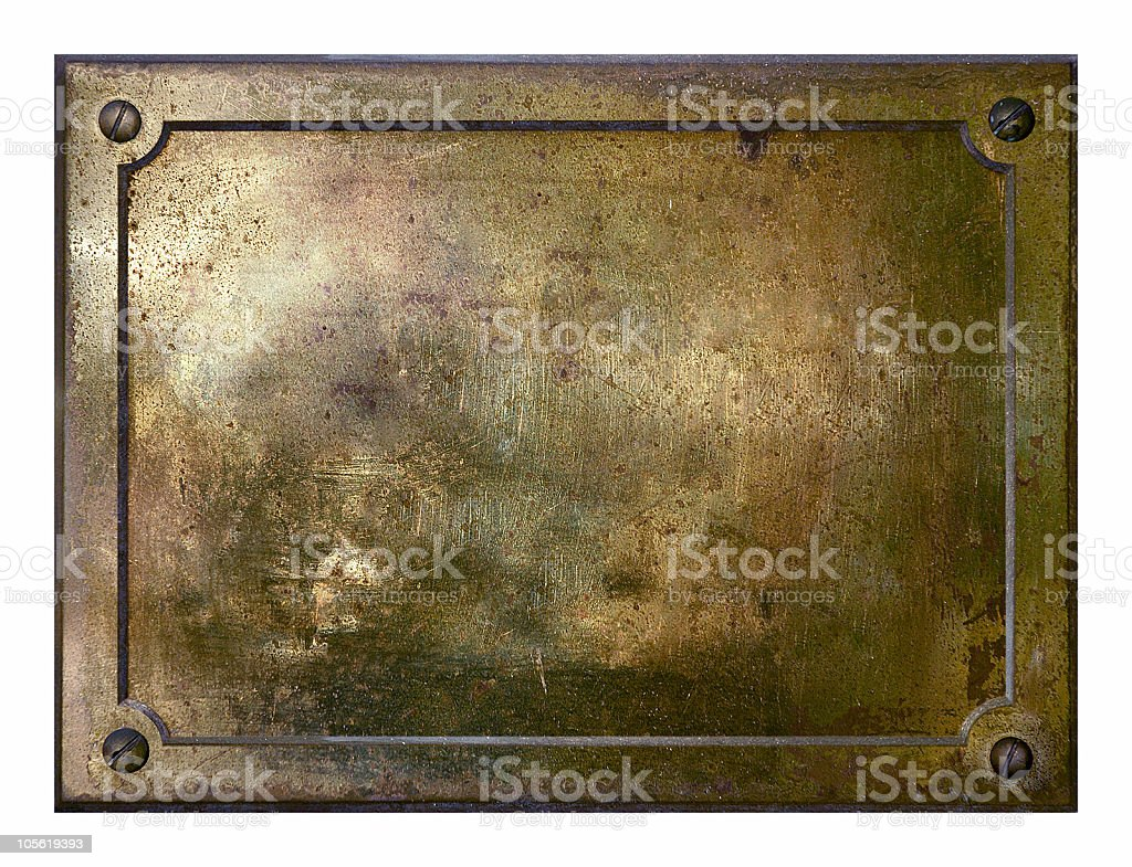 Yellow brass metal plate border royalty-free stock photo
