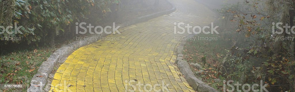 Yellow brick road background banner stock photo