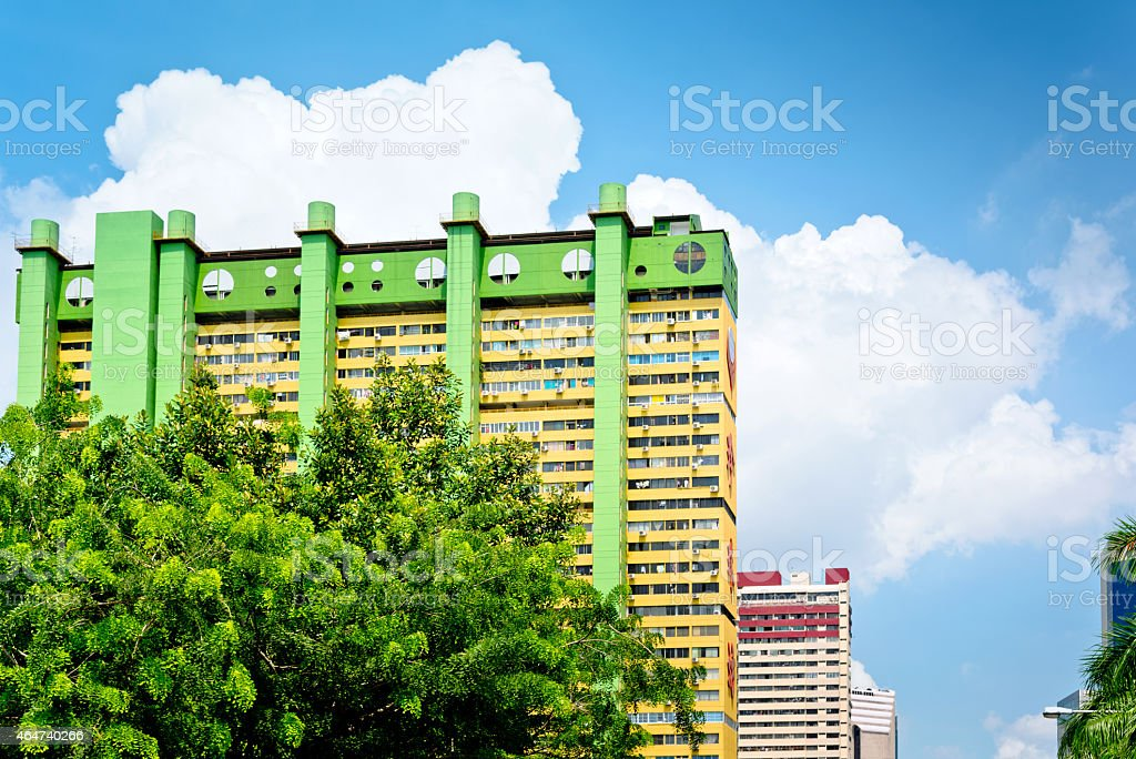 yellow building in Singapore stock photo