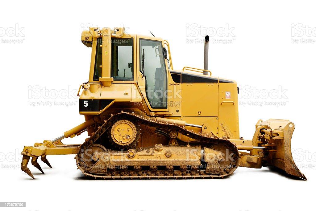 A yellow bulldozer on a white background royalty-free stock photo