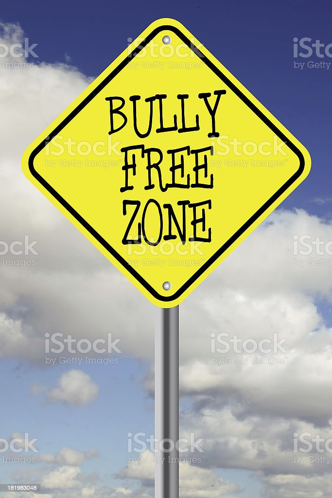 Yellow bully free zone road sign royalty-free stock photo