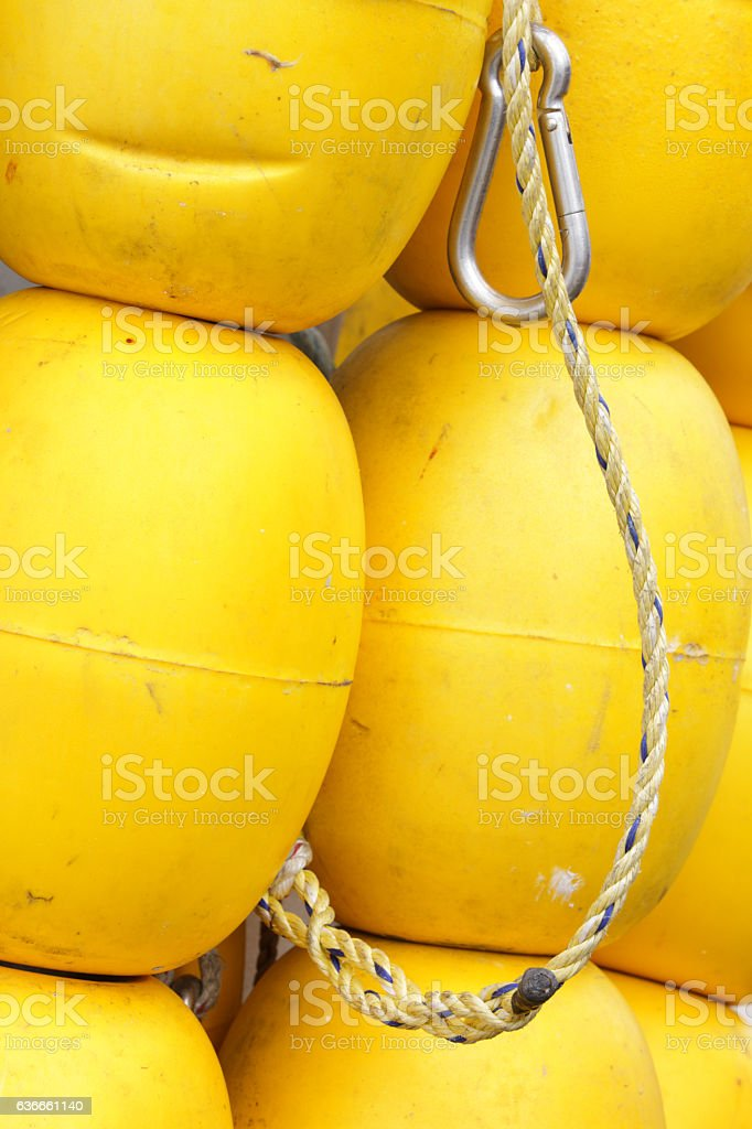 Yellow Buoy Float Markers Fishing Industry stock photo