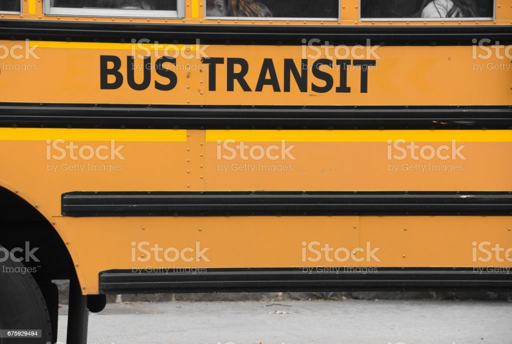 Yellow bus stock photo