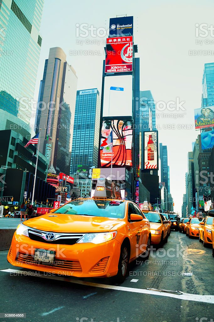Yellow cab at Times square in the morning stock photo