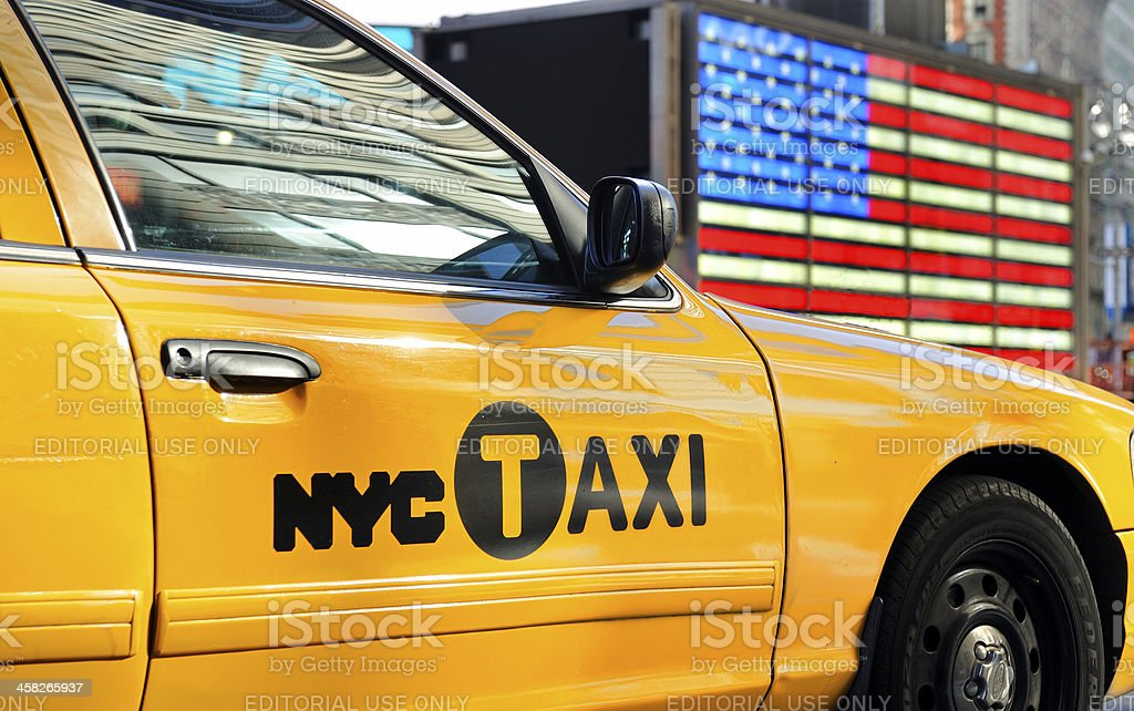 Yellow cab in NY royalty-free stock photo