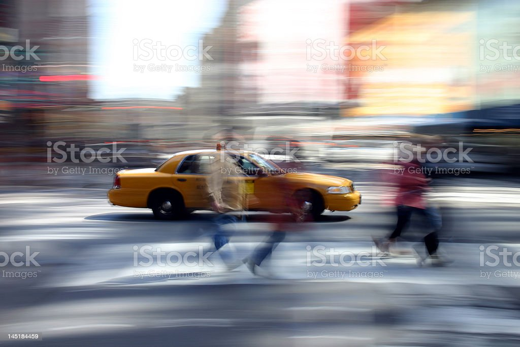 Yellow Cab in Times Square, New York stock photo