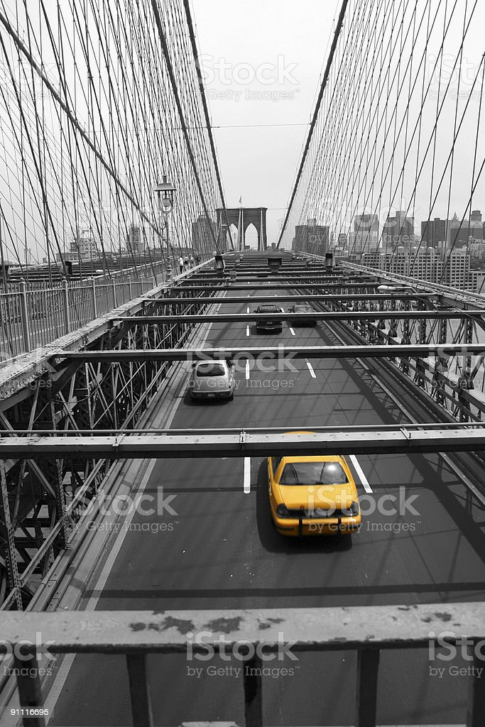 Yellow Cab leaving Manhattan stock photo