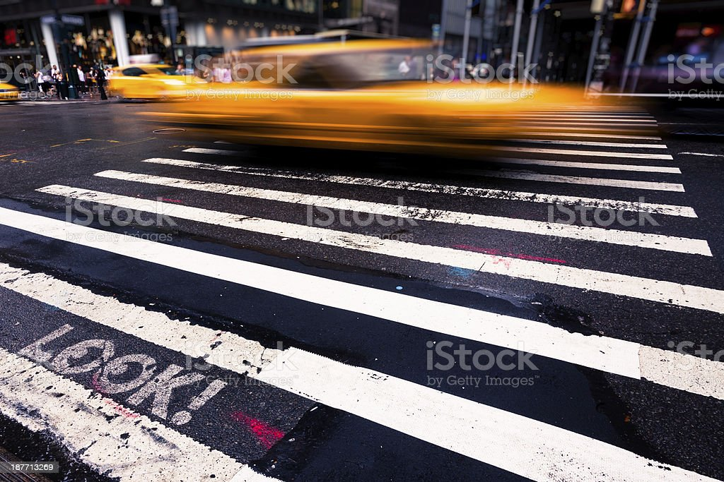 Yellow Cab on 5th Avenue in New York City royalty-free stock photo