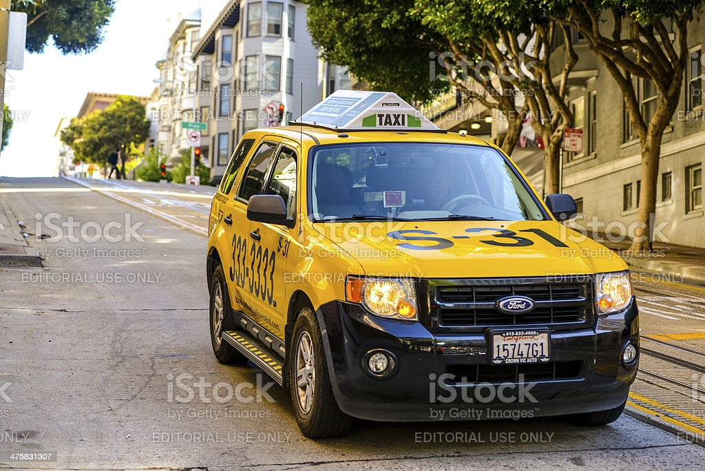 Yellow Cab on San Francisco Street royalty-free stock photo