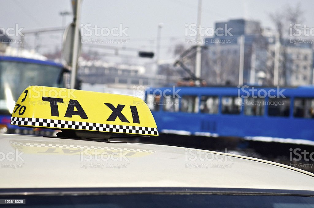 yellow cab taxi sign royalty-free stock photo