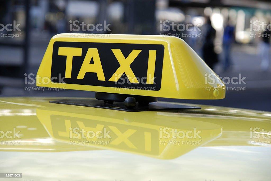 yellow cab taxi sign stock photo