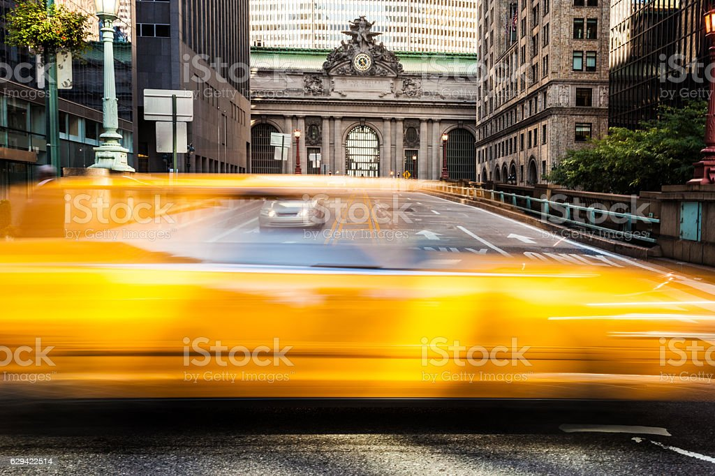 Yellow cab traffic in NYC in front of Grand Central stock photo