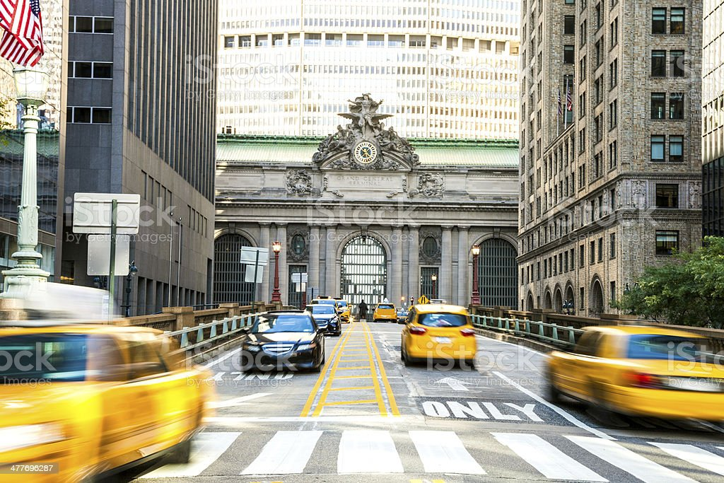 Yellow cab traffic in NYC stock photo